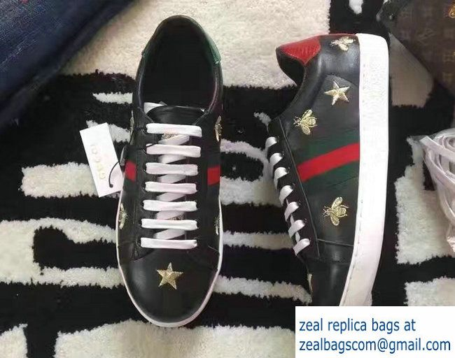 db58e1bd0 Gucci Ace Leather Low-Top Lovers Sneakers Web 386750 Embroidered Gold Bees  And Stars Black 2017