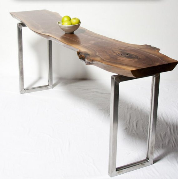 Live Edge Console Table Your Custom Black Walnut Reclaimed Rustic Seattle With Images Live Edge Console Table Live Edge Wood Furniture Furniture