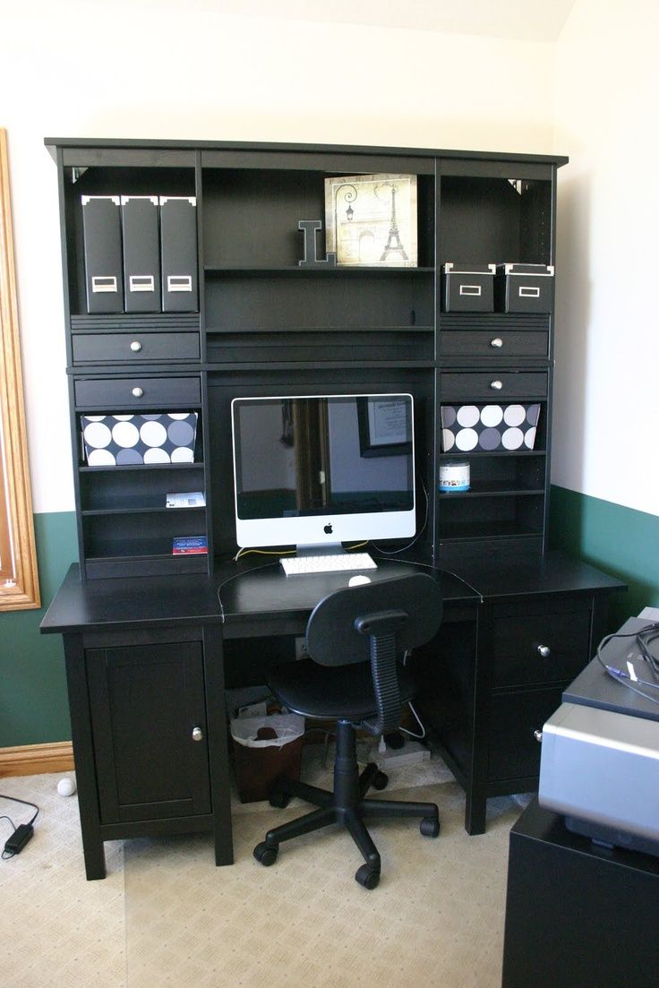 Ikea Hemnes Desk 2 Hutches Jpg 736 1 103 Pixels Ikea Home Office Home Office Furniture Sets Ikea Home
