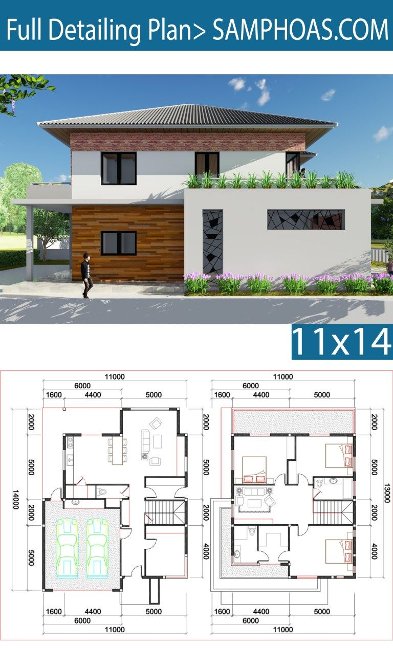 3 Bedroom Villa Design 11x13m Samphoas Plan Villa Design House Layouts Architectural Design House Plans