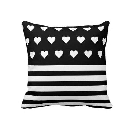 Black Hearts Striped Pillows