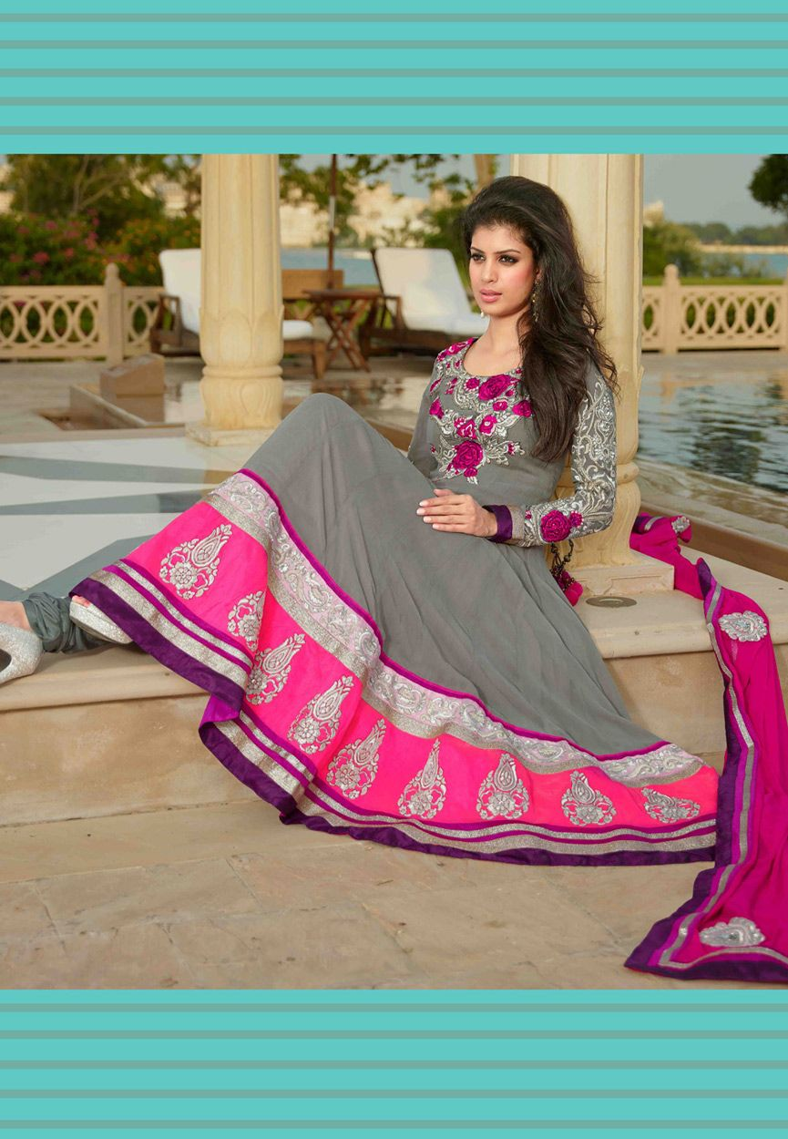 Grey Faux Georgette Anarkali Churidar Kameez: KCR4923