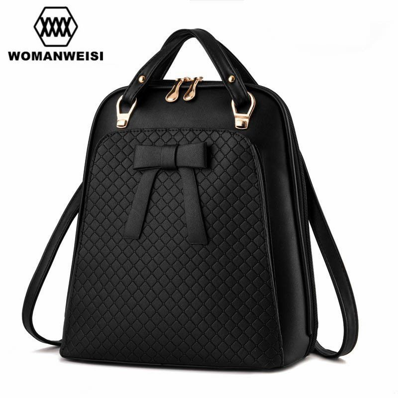 Fashion Women Leather Backpack Bow Decoration Should Bags High Quality  Brand Backpack For Teens Schoolbag Backbag Mochila 2016 c91bb44881