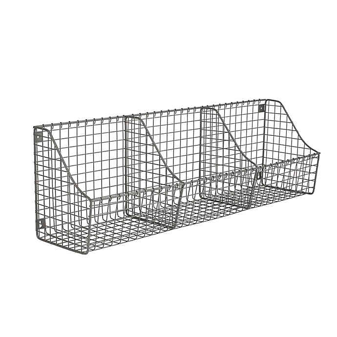 Spectrum Wall Mount Triple Storage Basket In Grey With Images