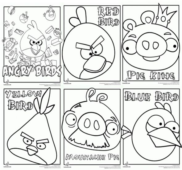Angry Birds Coloring Pages Color Online Or Printable Cakes