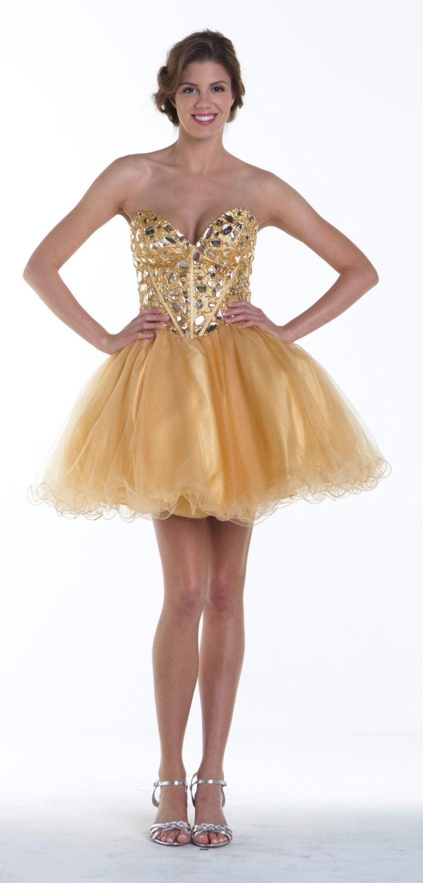 Flirty Sparkling Poofy Short Gold Prom Dress Boned Bodice (2 Colors ...