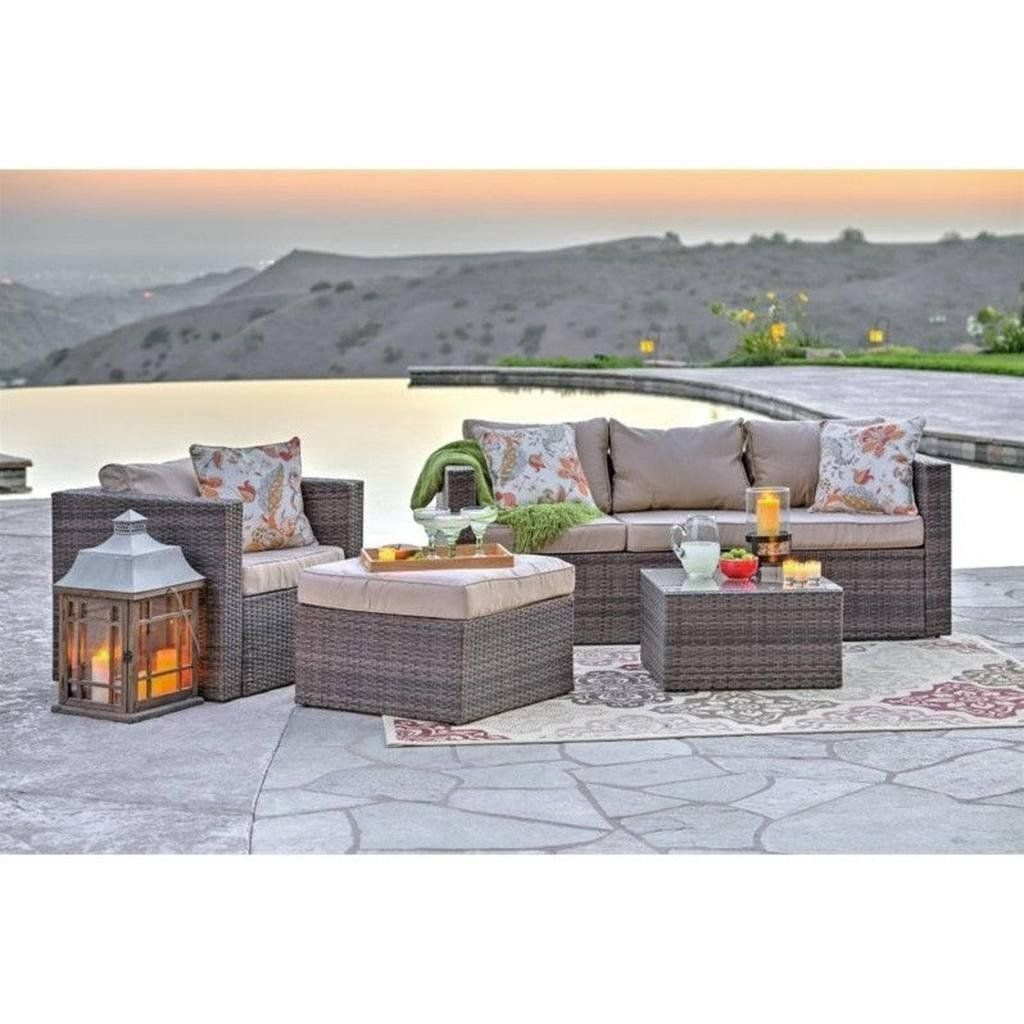 wicker patio furniture cushions. Caribe 4-Piece All Weather Grey Wicker Patio Seating Set With Beige Cushions By Thy Furniture O