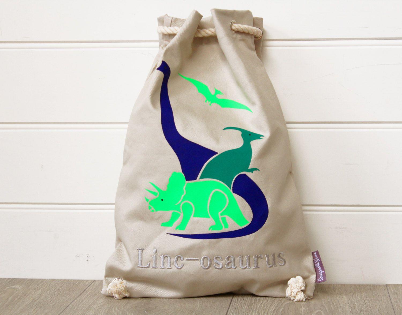 Kids Bag Dinosaur Natural Personalised, Kids Library bag, Kids ...