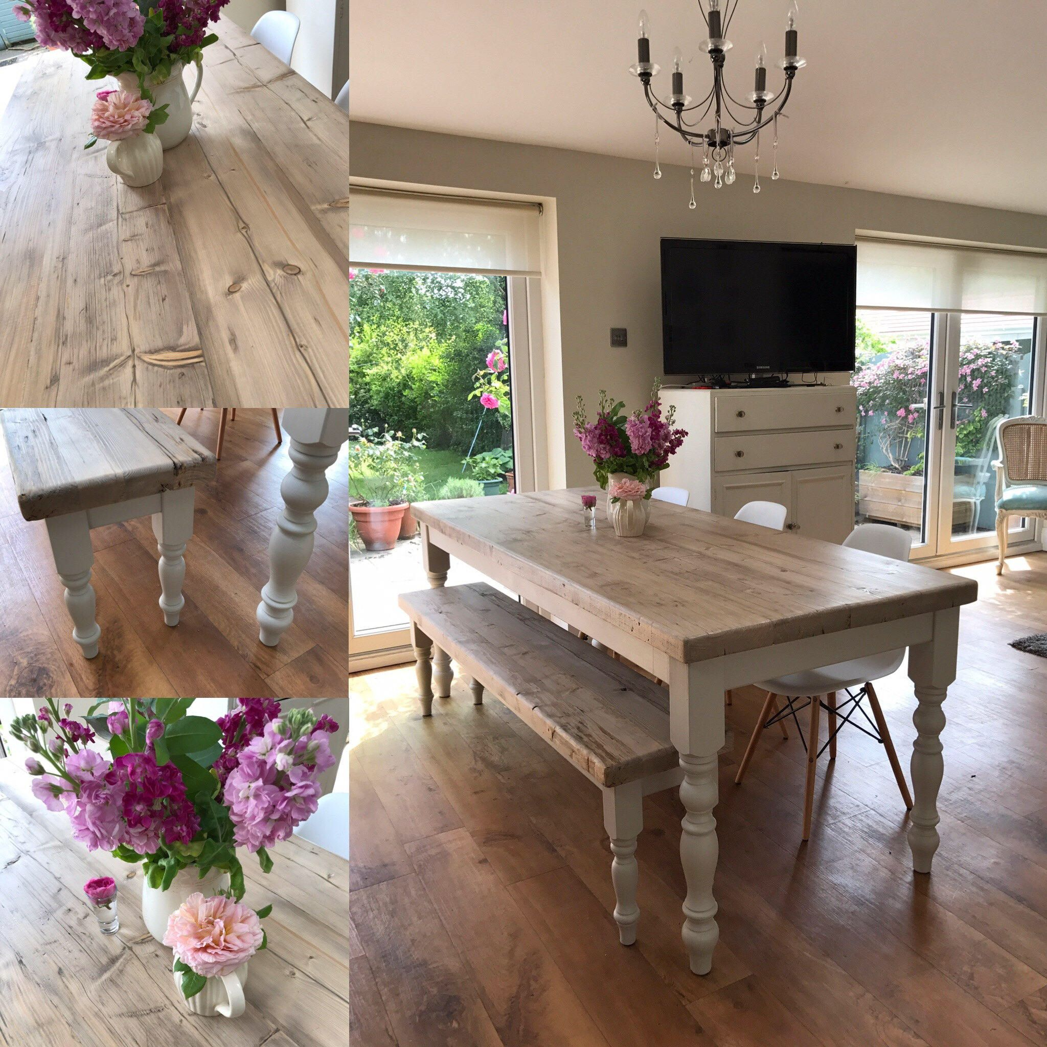 Farmhouse dining table with reclaimed wood top matching
