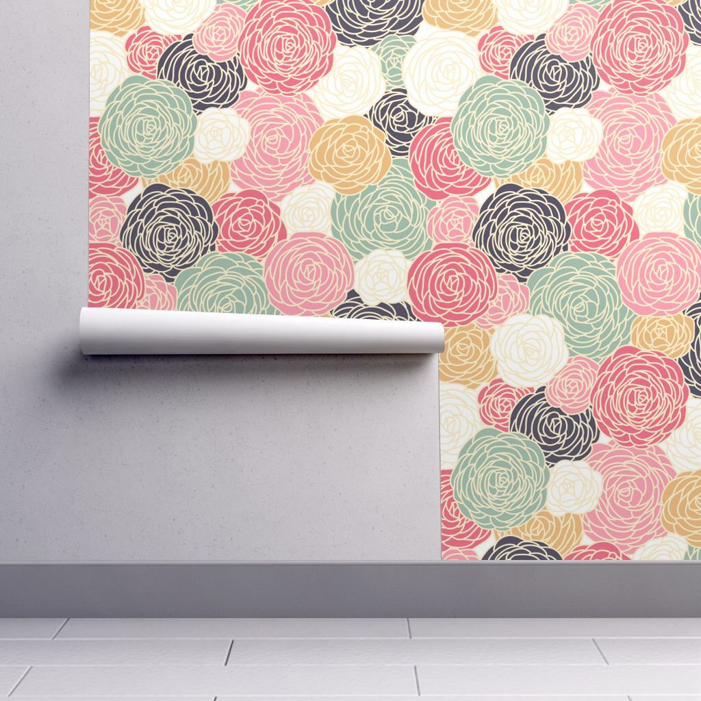 Vintage Inspired Wallpaper Fl Pattern With Colorful Roses By Fleurpaperco Removable Self Adhesive Roll Spoonflower