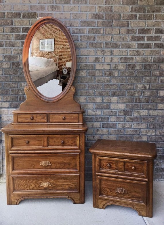 Dixie Furniture 70 S Style Dresser Mirror And Night Stand Honey Maple