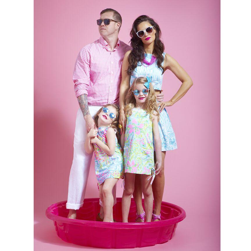 Fun Family Photo Shoot  Lily Pulitzer wear, sunglasses, child model, family model photo shoot, floral, pastels,