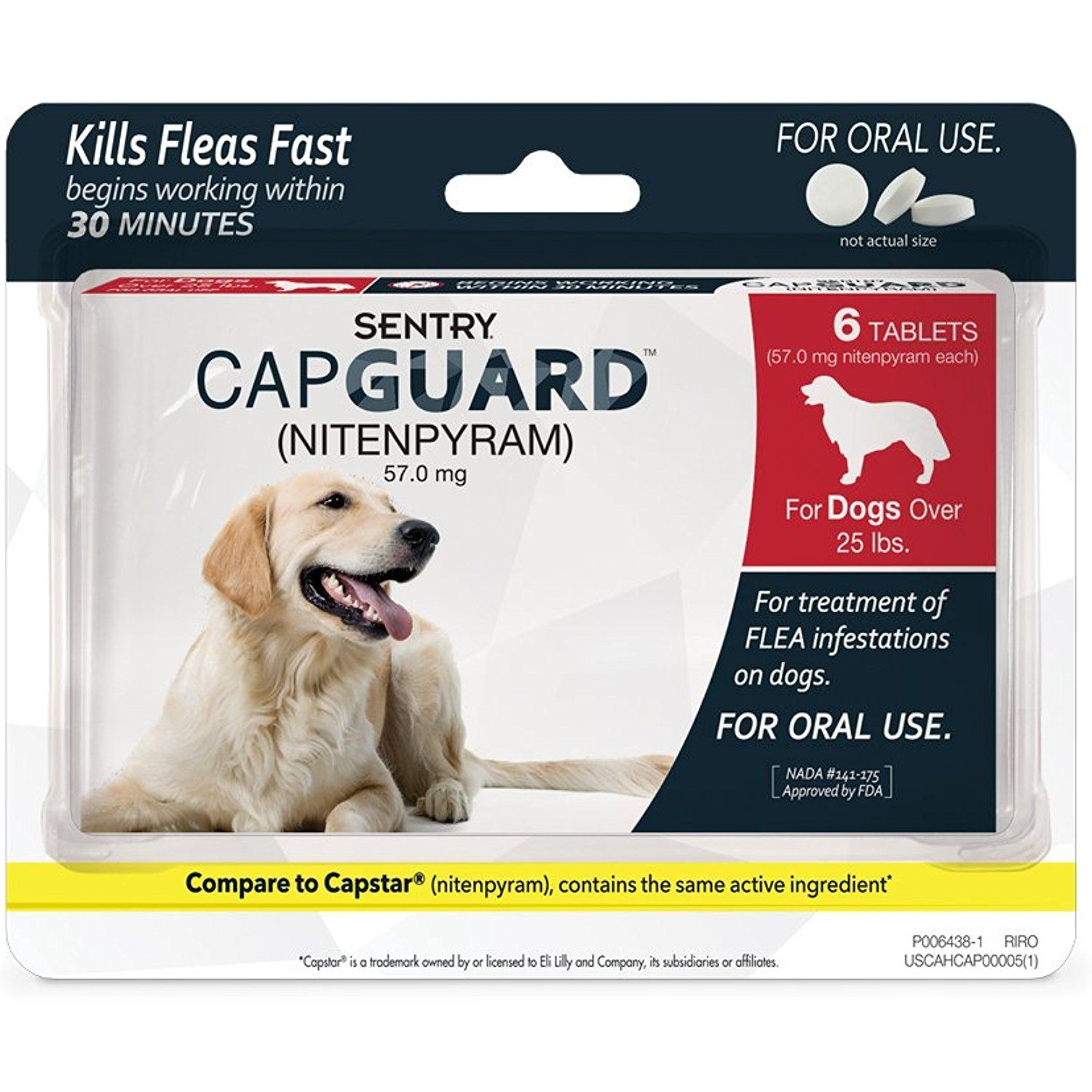 Sentry Capguard Nitenpyram Oral Flea Control Medication 25 Lbs And Over 6 Count To View Further For This Fleas Flea Treatment Dog Care Supplies