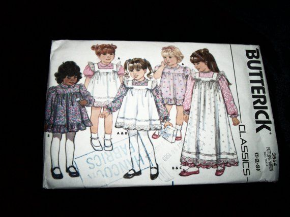 Vintage 1985 Butterick 3554 Toddler Childern Girl by TheSewingDen, $6.99