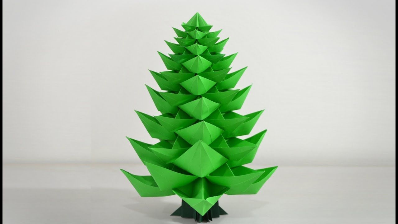 Origami Christmas Tree 2 0 Instructions In English Br Origami Christmas Star Christmas Origami Origami Christmas Tree