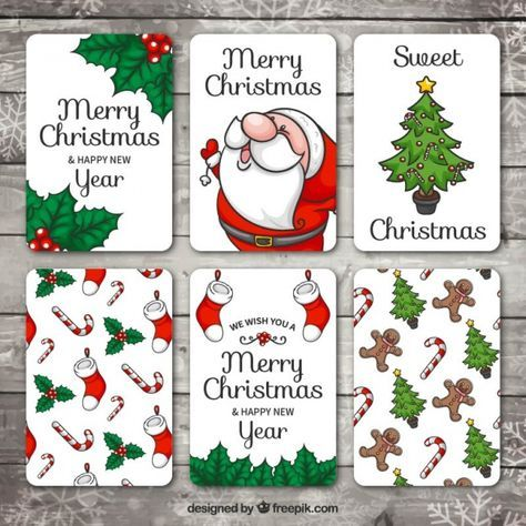 Set of hand drawn christmas and new year cards Free Vector in ...