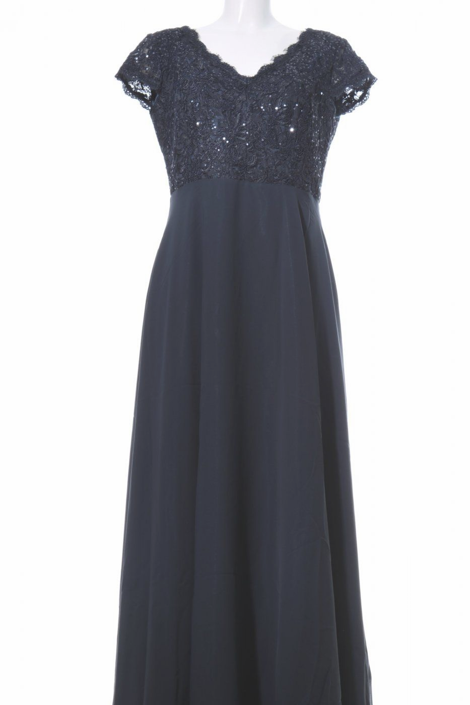 vera mont abendrobe blau blumenmuster elegant | dresses