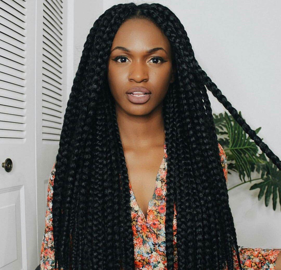 Large loose box braids | •hair• | Braids, Curly hair ...