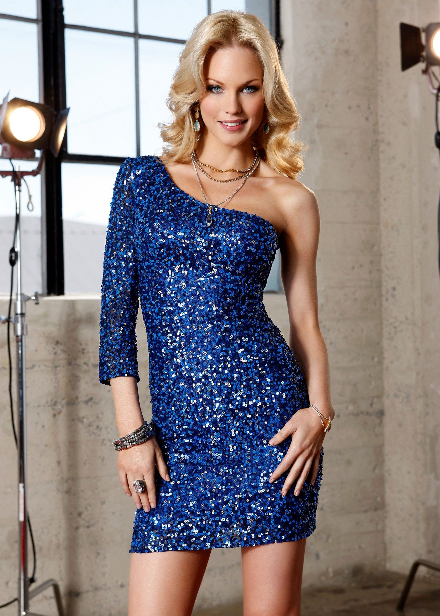 Scala 47485 One Sleeve Navy Blue Sequin Cocktail Dress - SALE ...
