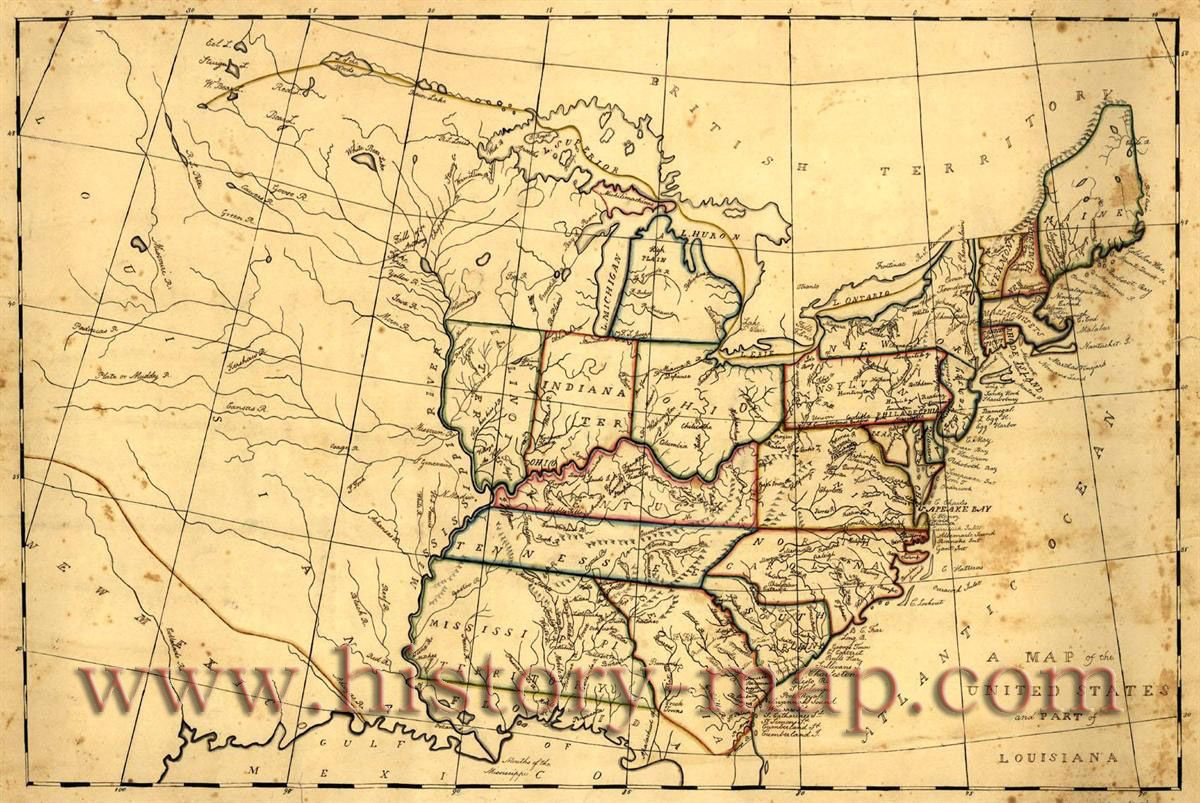 Maps From United States In Early S History - Us map in 1800