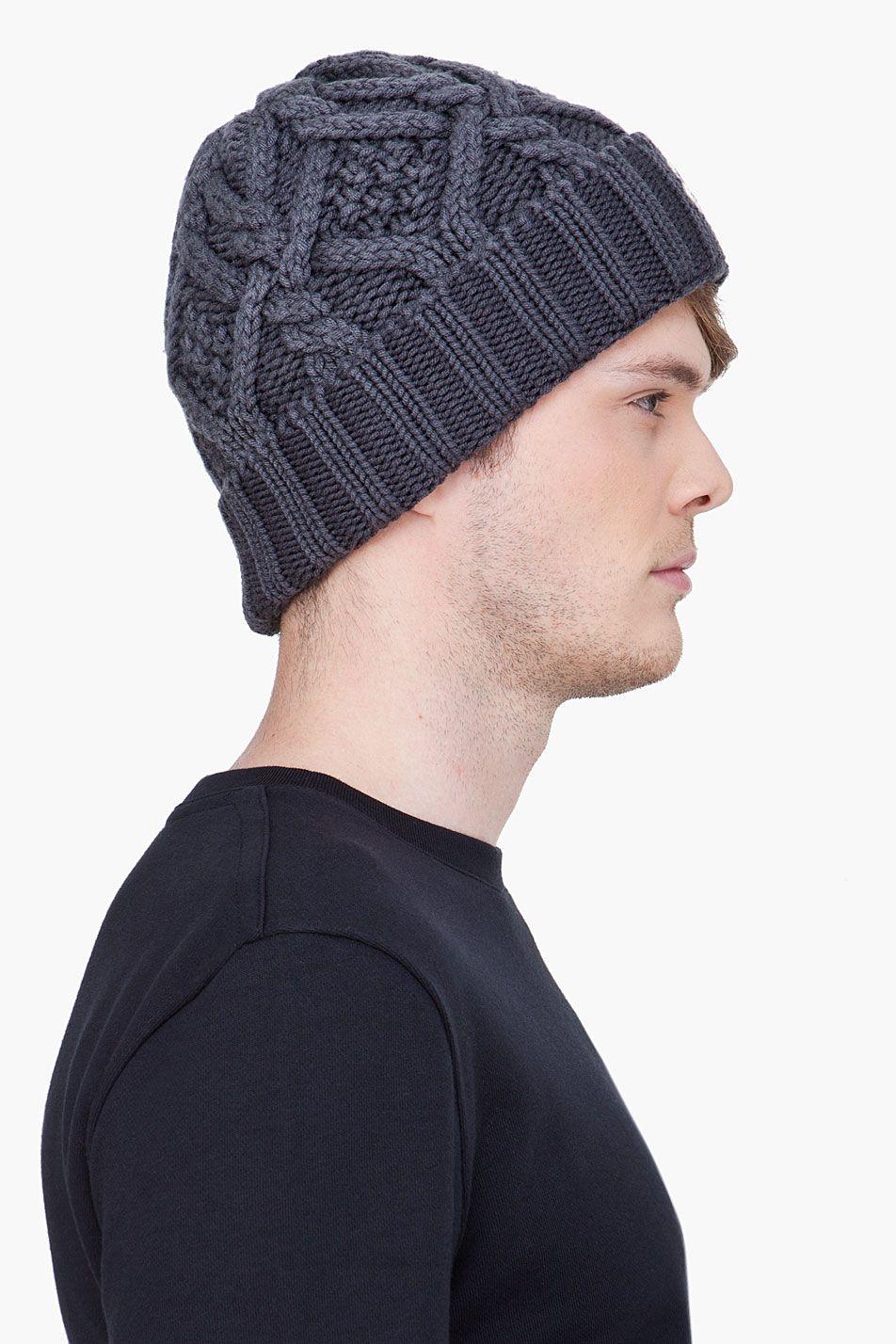 MONCLER grey Cable Knit beanie 17f886e70bd