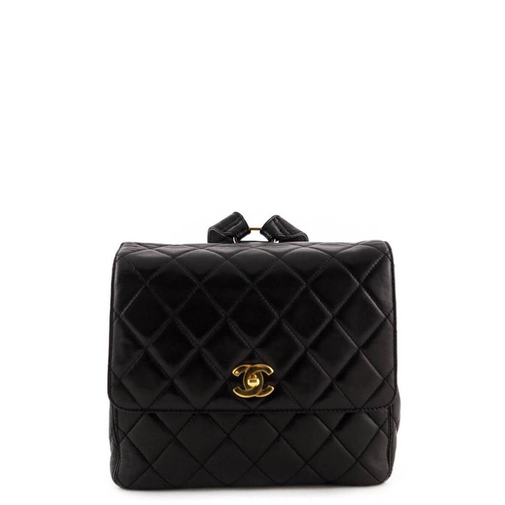 Chanel Black Quilted Lambskin Vintage Backpack Love That Bag Preowned Authentic Designer Handbags Vintage Backpacks Chanel Bags