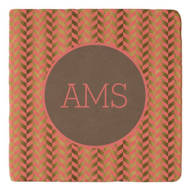 Coral Gold Herringbone Monogram Trivet #coral #gold #monogram #modern #trendy #Trivet #kitchen #kitchenalia #monogram #monogrammed #personalized #personalised #yourname #initials #zazzleproducts
