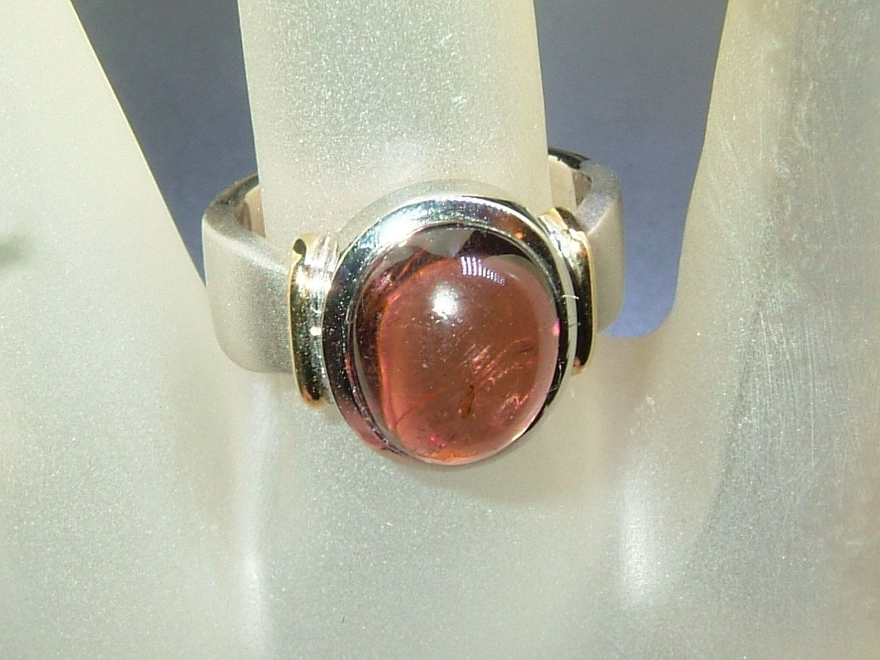 Bezel Cabachon 4ct Rubellite Solitaire Ring Sterling Silver 18kt by Gemsbygigialonia on Etsy