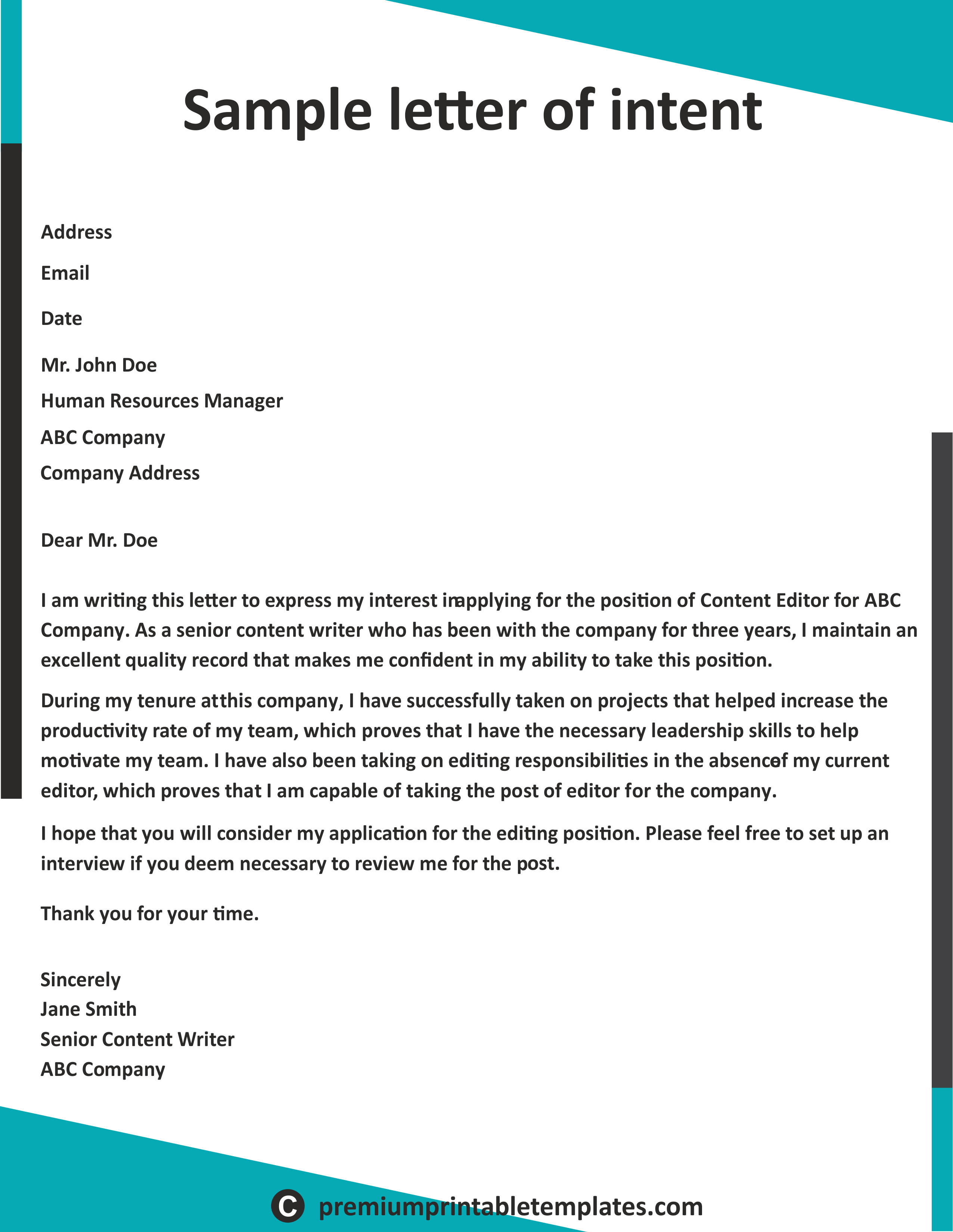 letter of intent is basically the declaration sales lead resume objective for high school student sample pdf free download