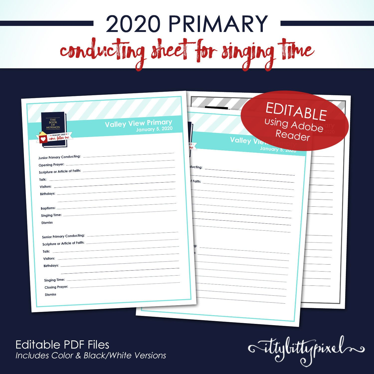 LDS 2020 Primary Conducting Sheet Come Follow Me Book of