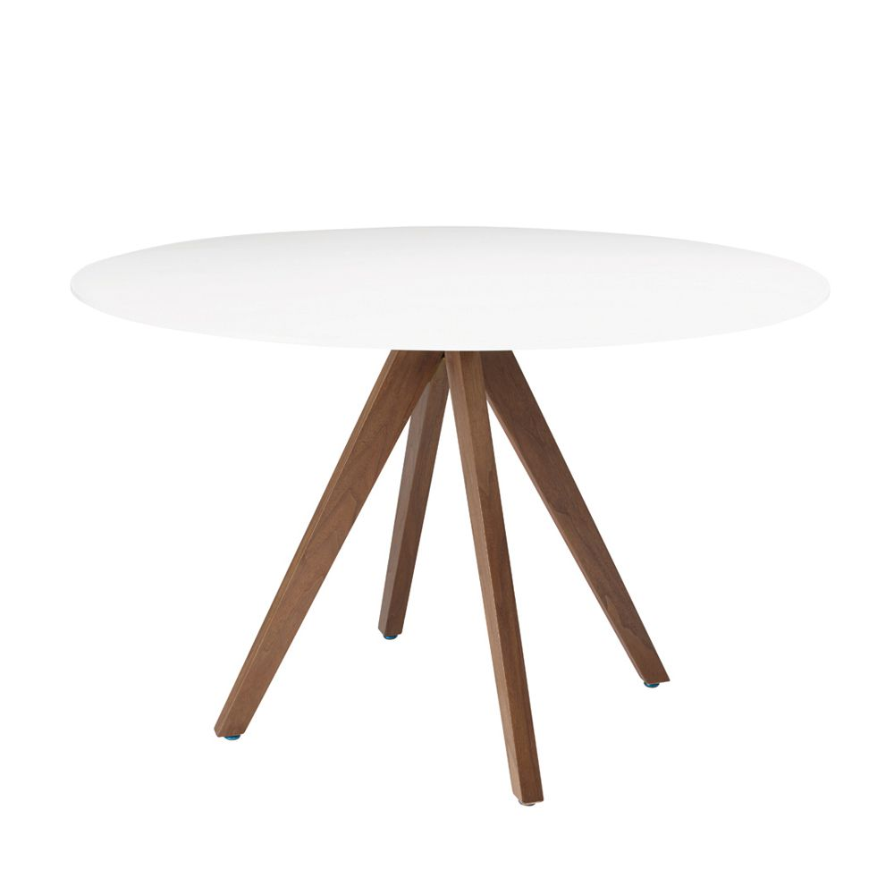 This White Glass Round Table On Walnut Legs Is Perfect For Entertaining Seating Up To Six People Extendable Dining Table White Glass Dining Table Dining Table
