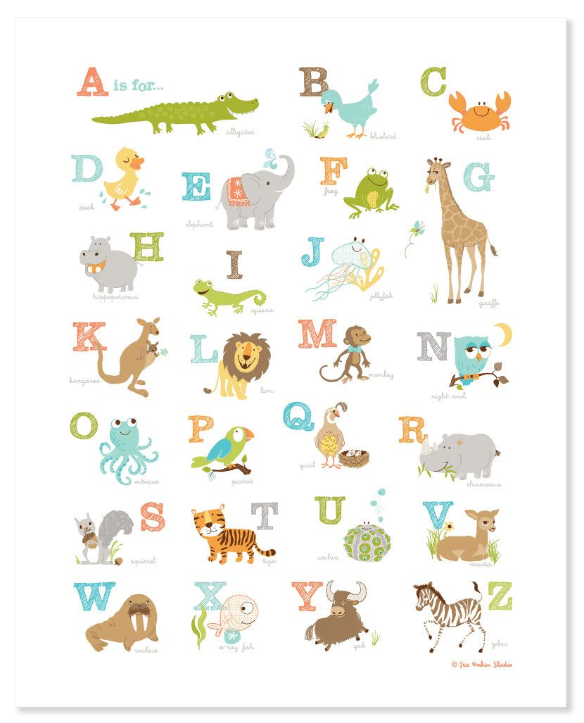 Baby Nursery Art Print Dog Abc Nursery Decor Alphabet Print: Animal Alphabet Poster, Baby Shower Gift, Animal Poster