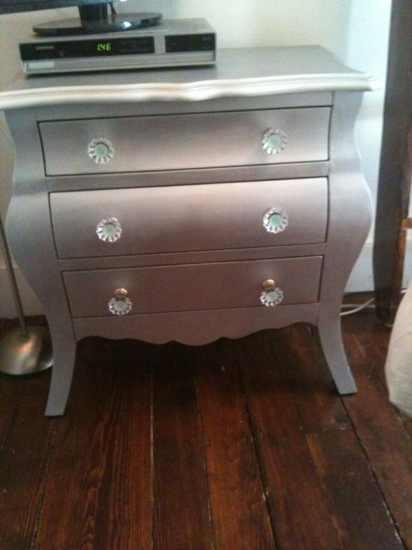 silver spray painted dresser  DIY and Tutorials  Pinterest