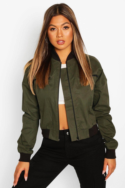 Woven Zip Detail Bomber Boohoo In 2021 Bomber Jacket Women Womens Bomber Jacket Outfit Jacket Outfit Women [ 1500 x 1000 Pixel ]