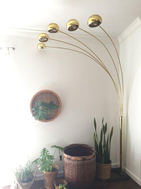 Vintage Mid Century Modern Brass Arc Orb Floor Lamp