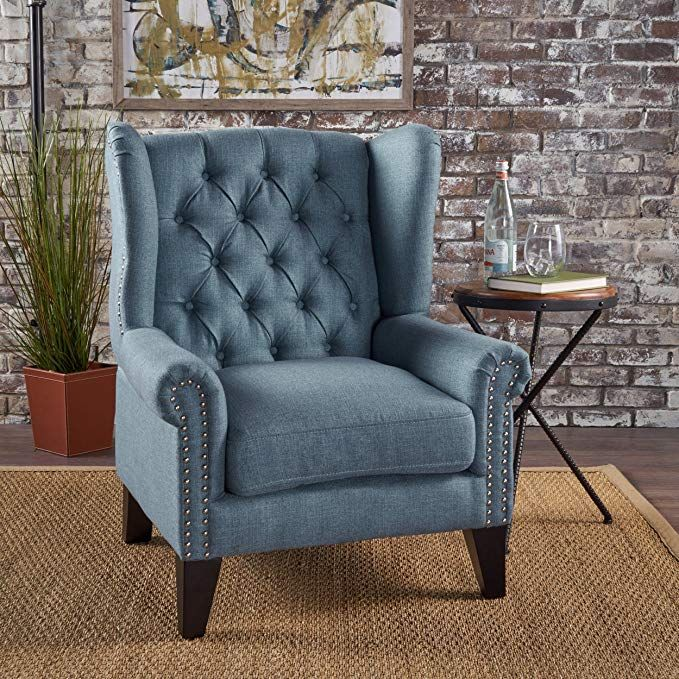Stupendous Lainie Traditional Winged Fabric Accent Chair Blue Review Caraccident5 Cool Chair Designs And Ideas Caraccident5Info