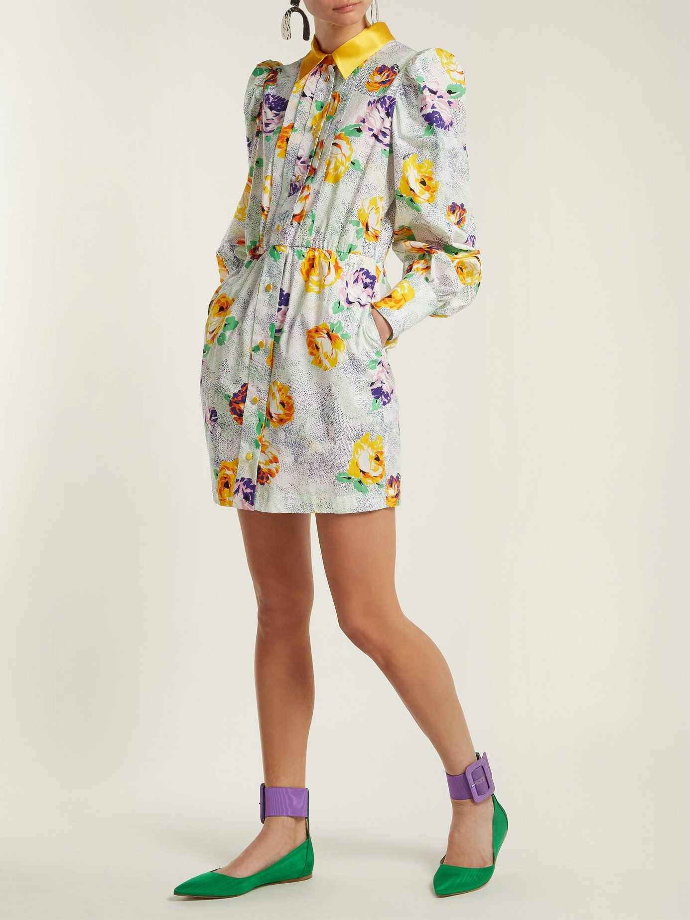 Floralprint cotton shirtdress msgm matchesfashion us