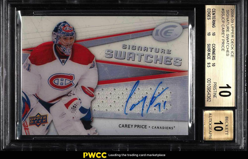 2008 Upper Deck Ice Signature Carey Price AUTO PATCH BGS