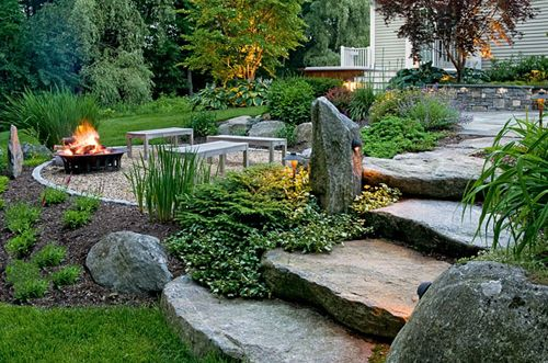 Glitz Bliss In The Garden Stone Patio Rustic Backyard