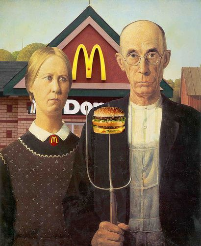 Grant Wood American Gothic Art Parody McDonalds Burger Fastfood
