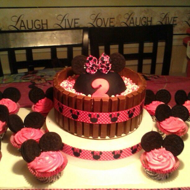 Minnie Mouse Kit Kat Cake and Cupcakes Things I Made Pinterest