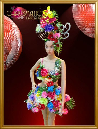 Carnival Inspired Flower and Frond Covered Dress with Matching Headpiece | eBay
