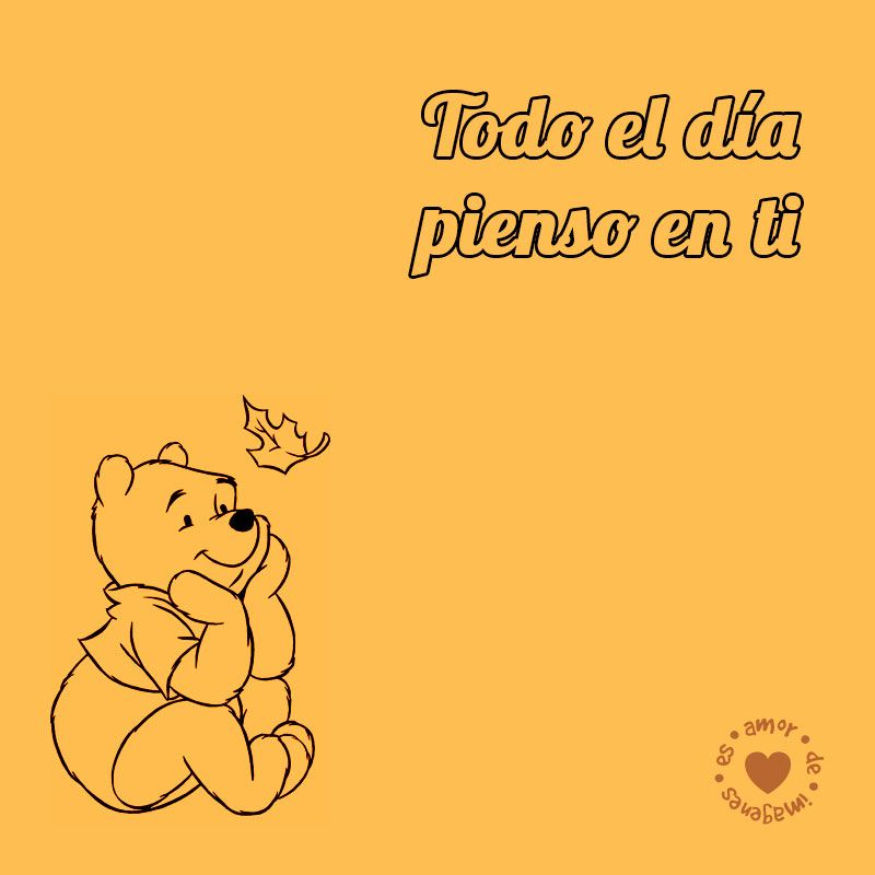dibujo de Winnie Pooh con frase de amor  Frases de amor Dibujos