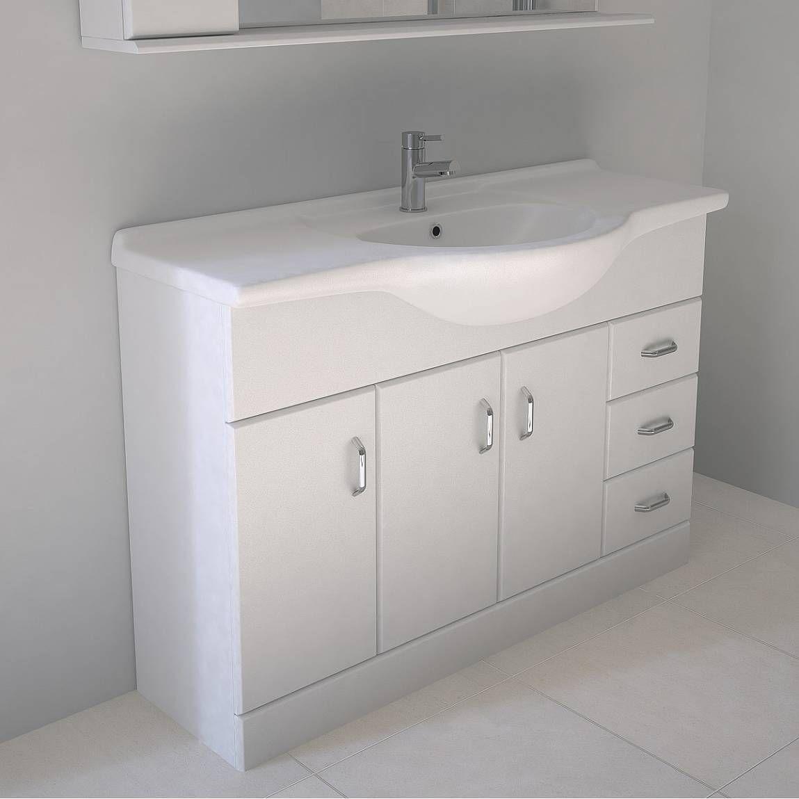 Granada 120 White Vanity Unit & Basin + Waste