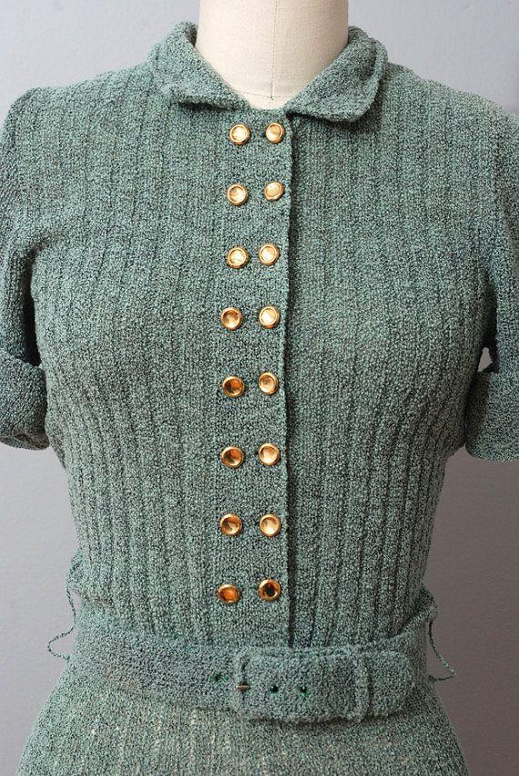 1940-е платье Sage вязать свитер платье 40-х годов по OldFaithfulVintage