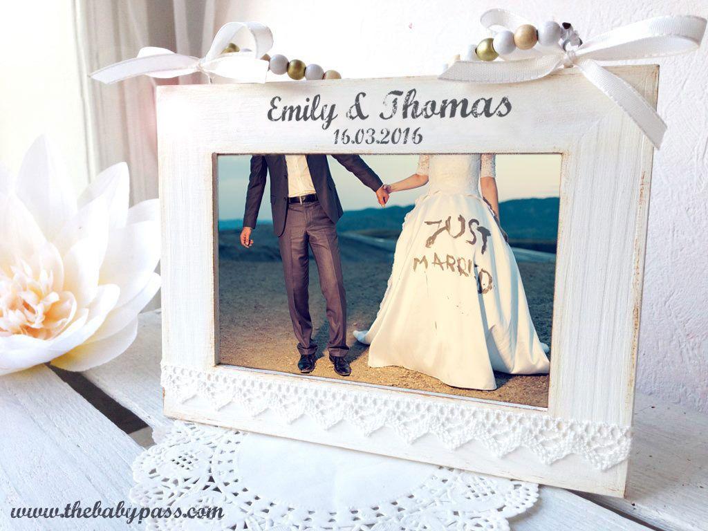 Bilderrahmen Hochzeit Shabby Chic Mit Gravur Bilderrahmen Hochzeit Personalisierte Hochzeitsgeschenke Bilderrahmen Shabby Chic