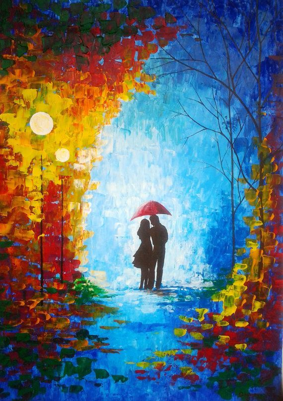 This Is A Painting Of A Couple In The Rain Under A Red Umbrella