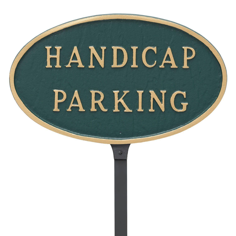 Oval Handicap Parking Statement Address Plaque