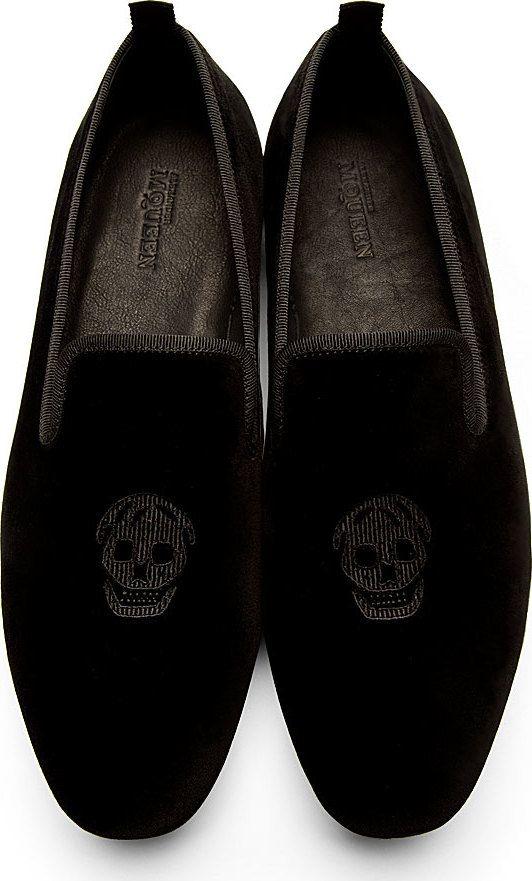 b19e7716508ac Alexander Mcqueen: Black Velvet Embroidered Skull Loafers | My stuff ...