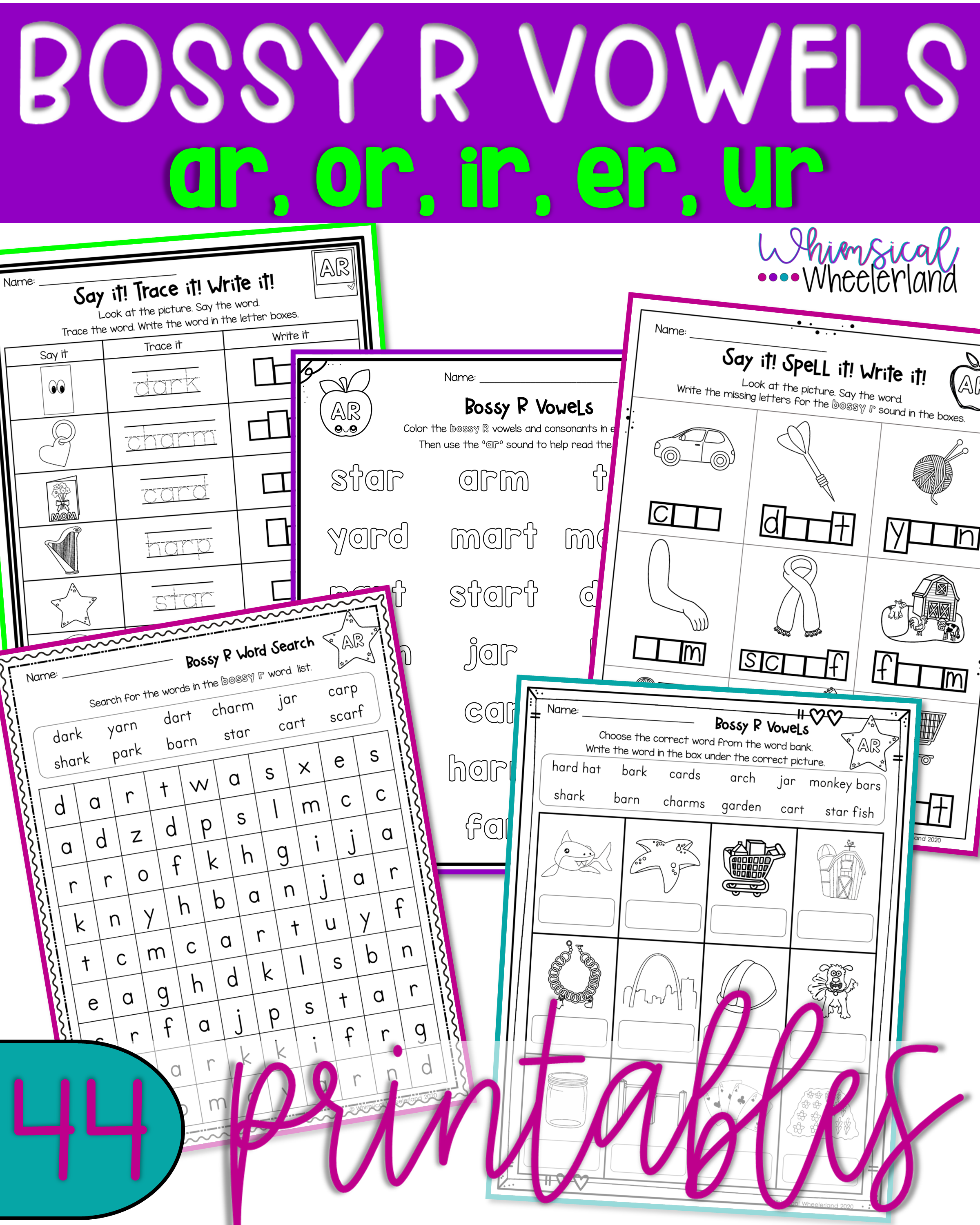 Bossy R Word Work R Controlled Vowels Worksheets In